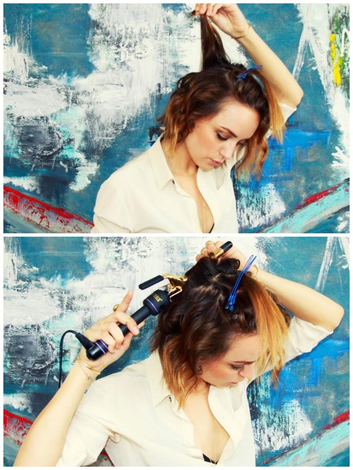 un tuto coiffure cheveux court montrant étape par étape comment réaliser un carré ondulé