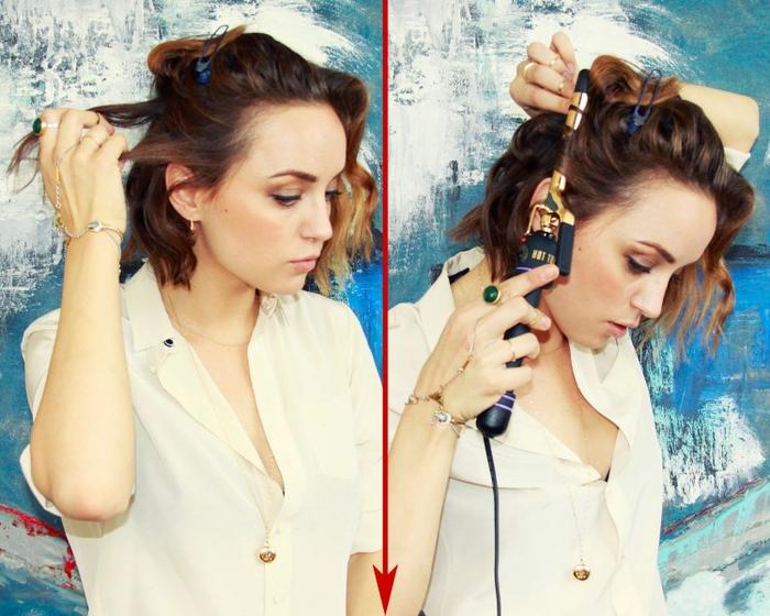 une coiffure de cheveux courts ondulée réalisée à l'aide d'un fer à boucler, un carré wavy romantique