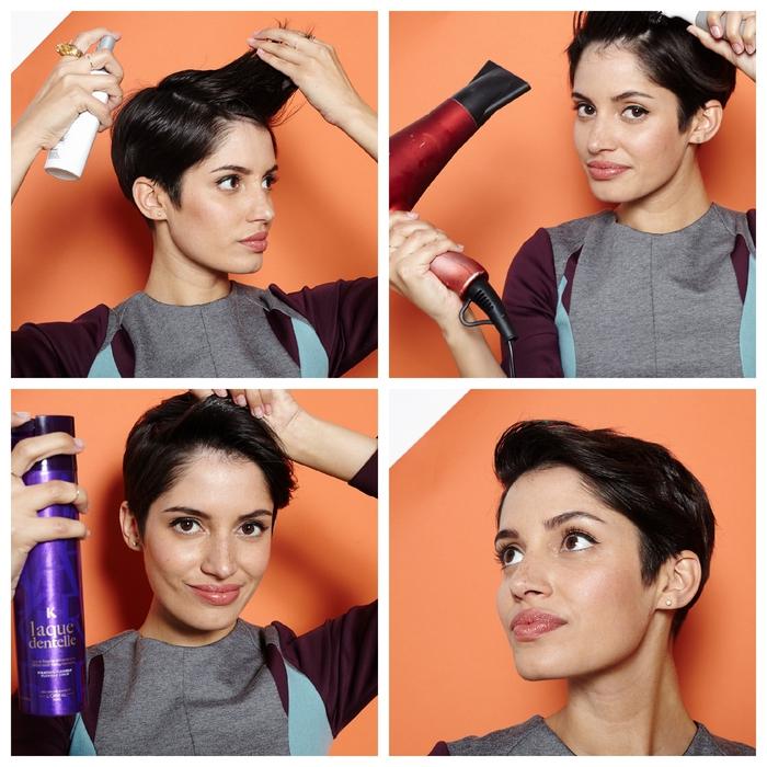 une coiffure simple et rapide pour cheveux courts de style pixie avec une mèche sur le côté
