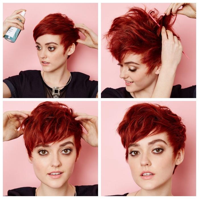 idée pour coiffer une coupe pixie courte à l'aide d'un produit stylisant pour un joli effet coiffé-décoiffé