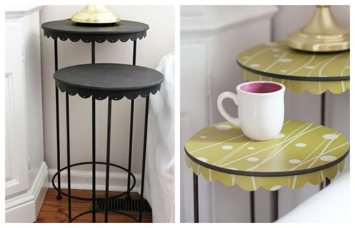 """comment customiser un meuble avec du papier adhésif décoratif, une table d'appoint double plateau en métal recouverte d""""adhésif vintage"""