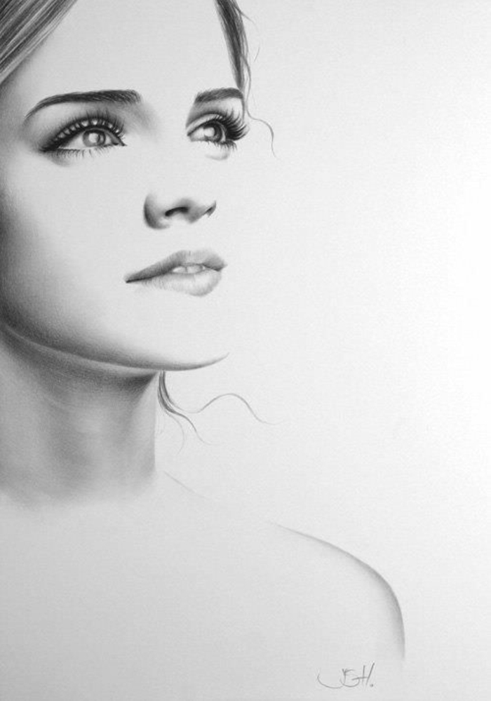 Dessin d une belle fille comment en dessiner une fille idées en image portrait emma watson cool idée femme célèbre dessin graphique