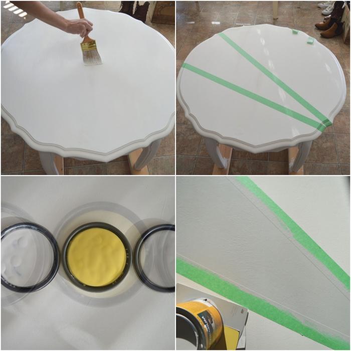 repeindre une table en bois avec des motifs géométrique pour lui donner un aspect moderne