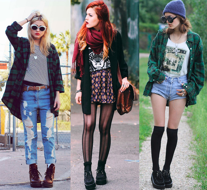 style grunge, idée comment assortir ses vêtements, shorts en denim avec  t,shirt