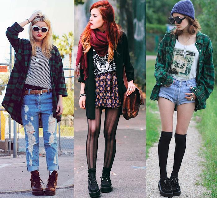 style grunge, idée comment assortir ses vêtements, shorts en denim avec t-shirt blanc et chemise carrée en vert