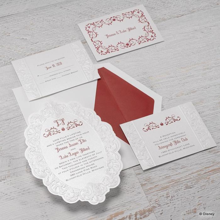 Carte invitation disney faire part mariage conte de fée idées blanc et rouge