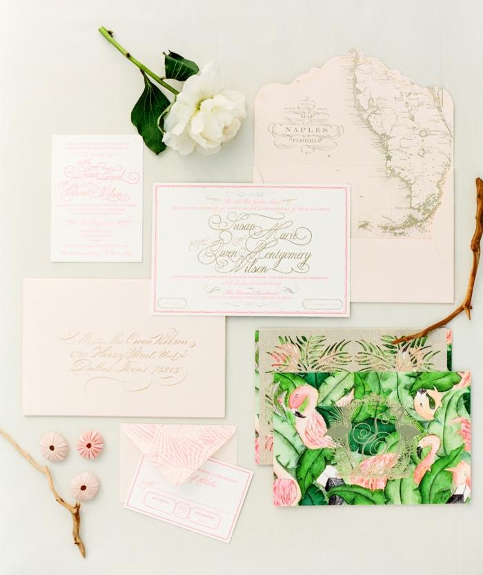 Conte de fée faire part mariage plume faire part mariage blanc et rose adorable