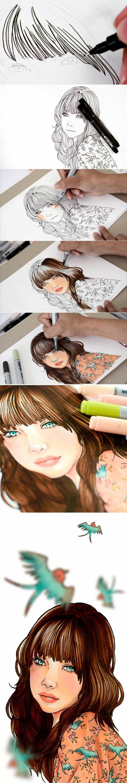 Schéma dessin de fille a imprimer fille dessin animé silhouette fille beauté