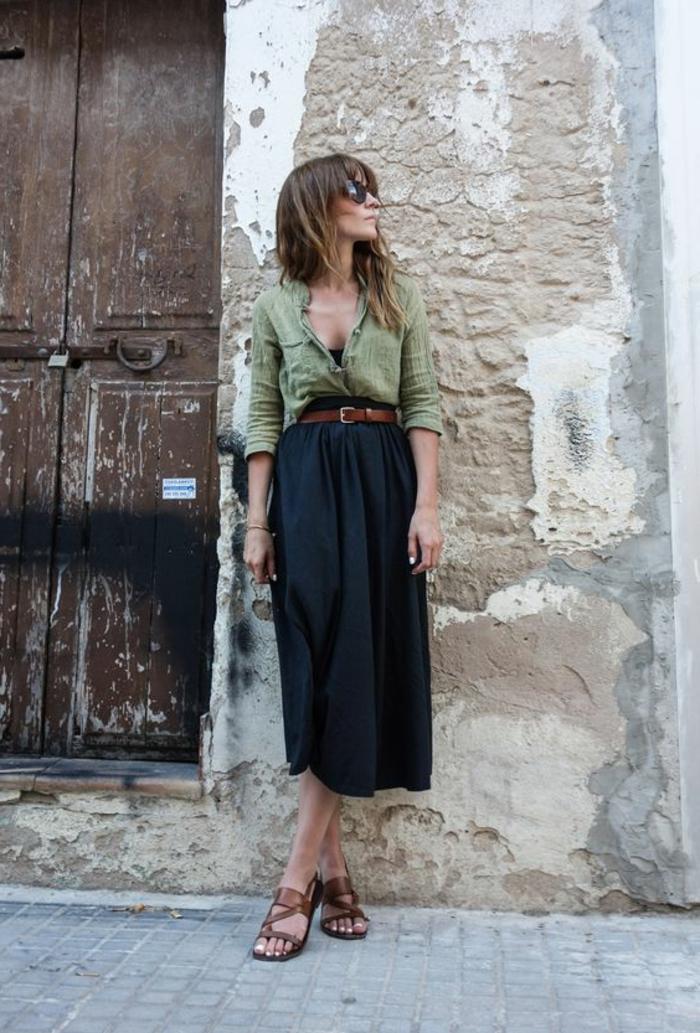 Allure robe safari robe chemisier manches longues cool idée tendance bohème