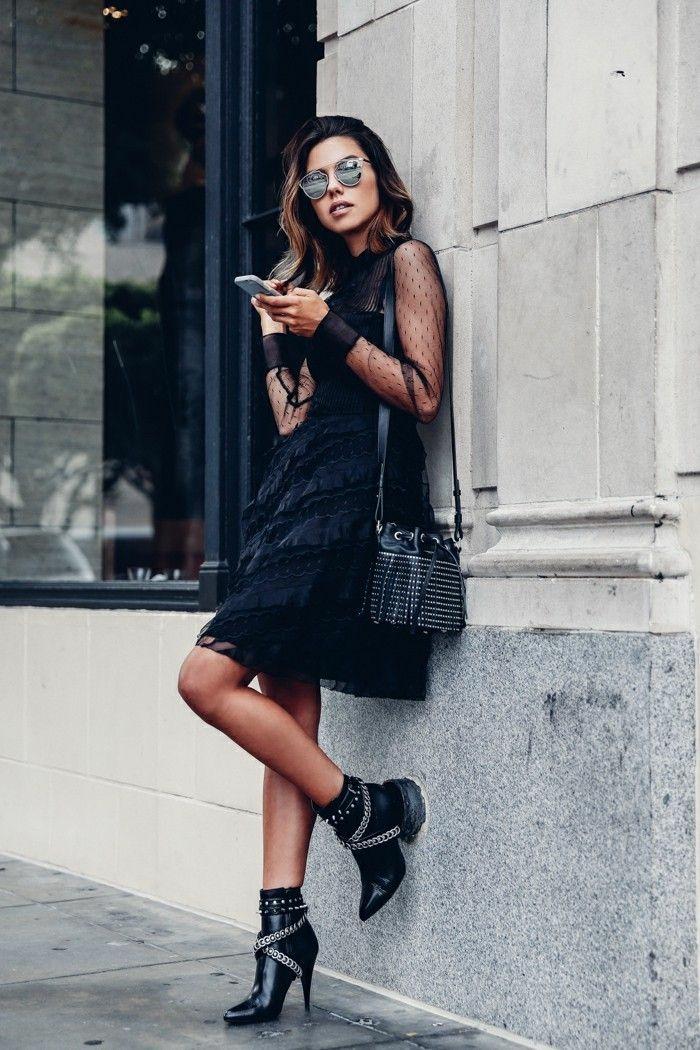 Pantalon camel femme avec quoi look bottines noires tendance automne 2017 robe noire dentelle