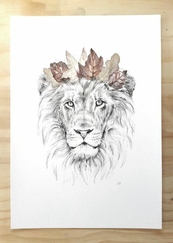 Signe du zodiaque lion signe astro lion zodiaque tatouage simple couronne de feuilles automne beau tatouage