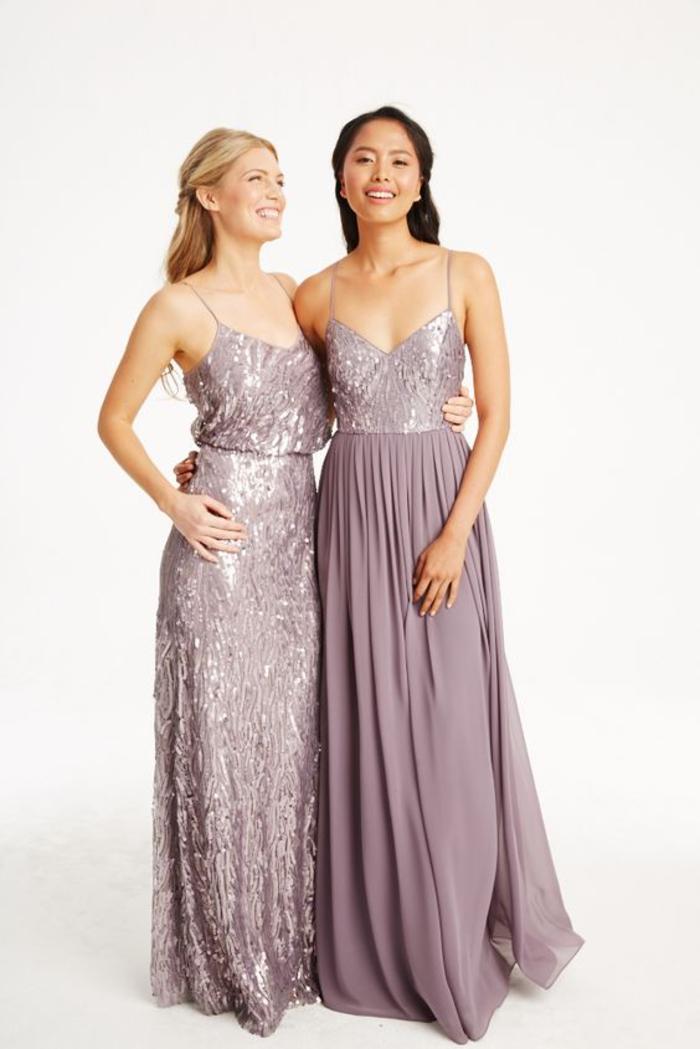 des maxi robes de filles d'honneur qui associe la douceur de la couleur lavande et le glamour des sequins