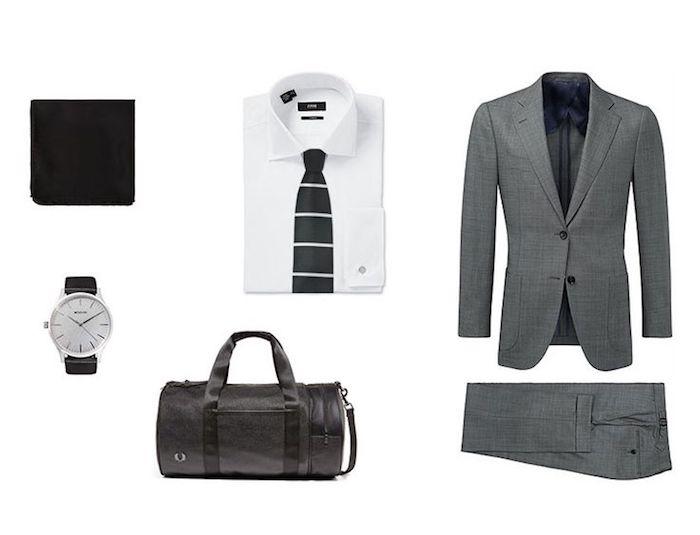comment organiser sa tenue homme d'affaires, blazer et pantalon en gris avec montre blanc et noir
