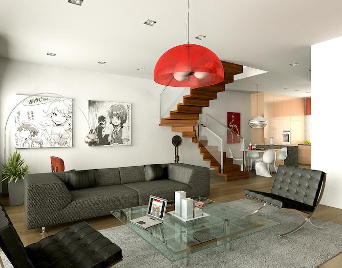 deco rouge et noir, suspension rouge avec des fauteuils noirs, canapé gris anthracite et tapis gris clair, table basse en verre, parquet bois clair, deco mur dessin japonais