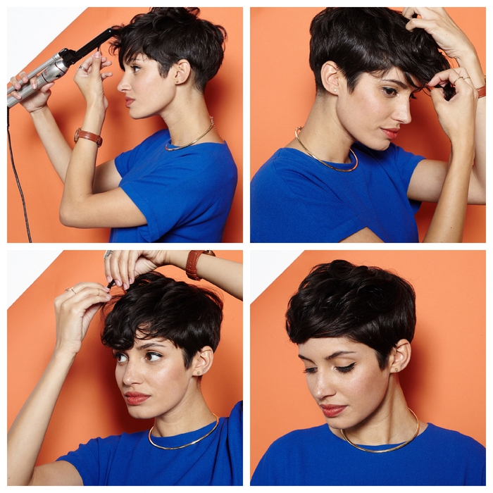 une coiffure simple et rapide inspiré de la coupe pixie emblématique de rihanna avec une mèche de devant frisée