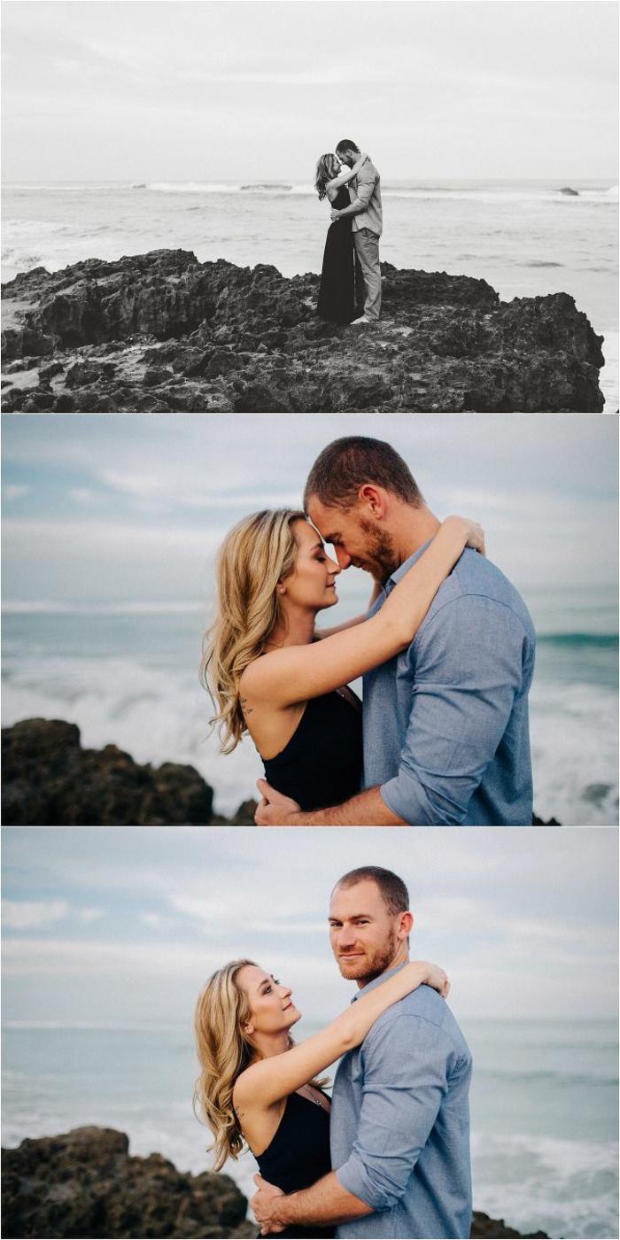 Seance photo couple images d amoureux couple d amoureux roches mer