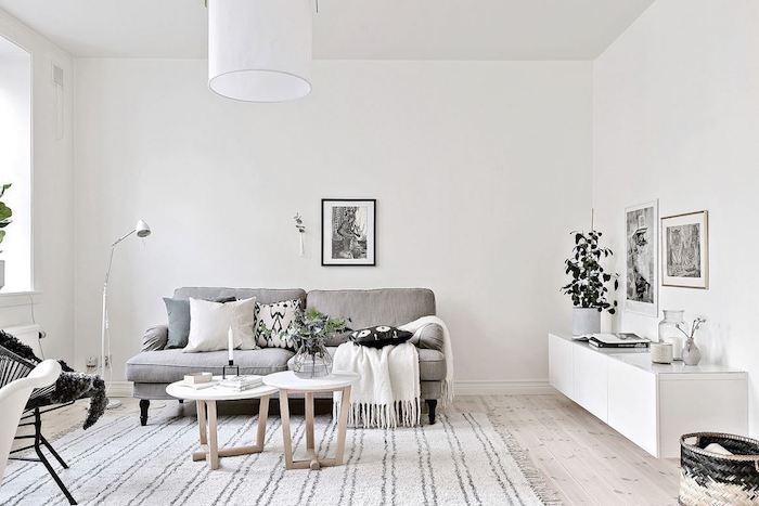 deco salon gris, avec murs blancs, canapé gris, coussins decoratifs blanc, bleue t noir tapis blanc et gris, parquet clair, tables basses en bois, chaise metallique noire