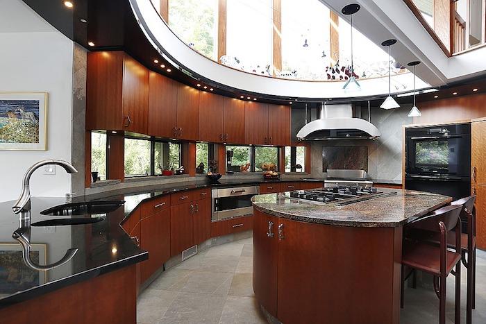 Simple idee deco cuisine plafond rond en verre avec for Ilot central rond