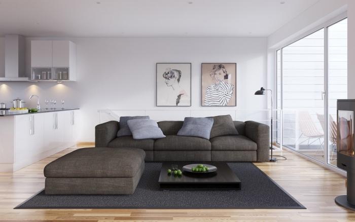 déco salon salle à manger inspiration scandinave, parquet clair, tapis et canapé gris, table basse, façade cuisine blanche, portraits femme