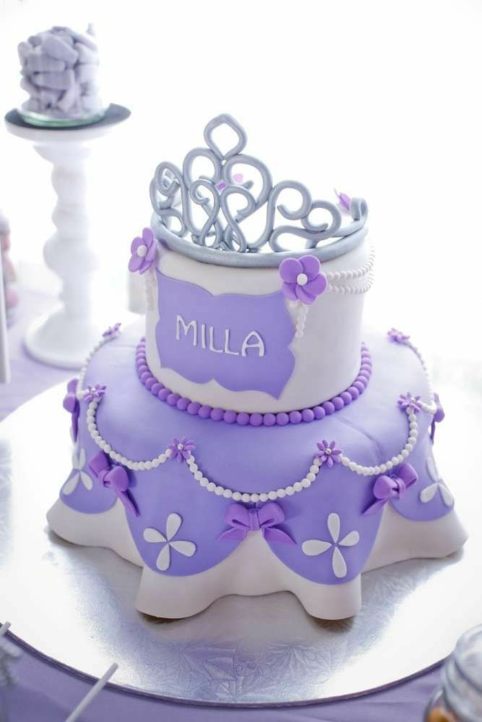 Gateau princesse sans moule gateau princess gateau robe violet comme princesse sofia couronne gateau