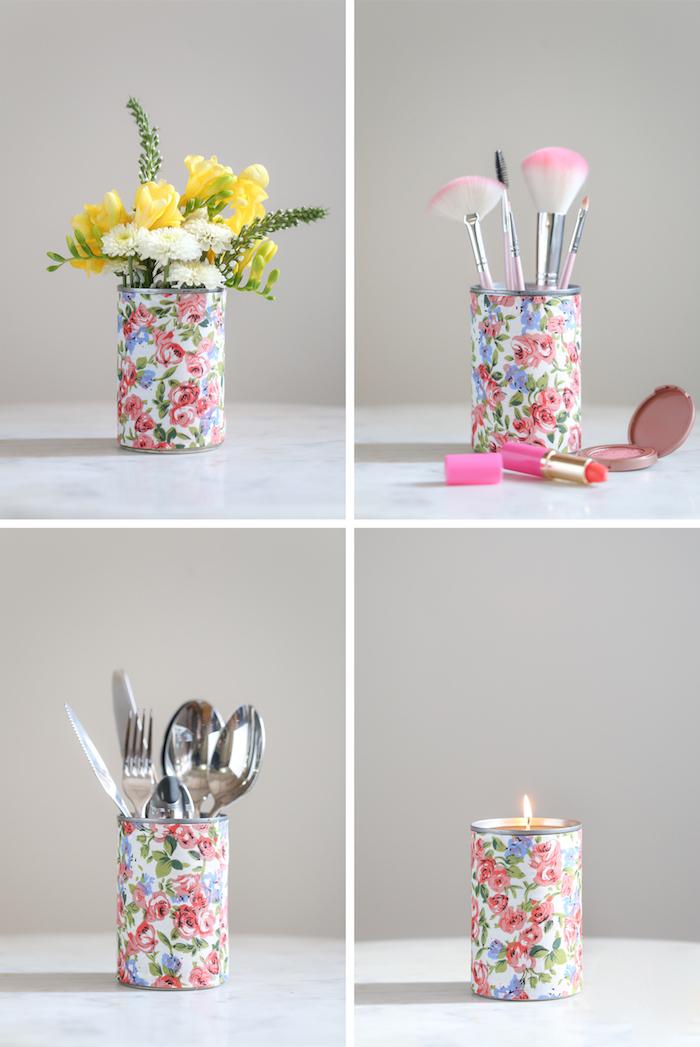déco avec de la récup, boite de conserve, décoré de papier decopatch, tissu, pour fabriquer un rangement make up, vase de fleurs, range couverts ou bougeoir