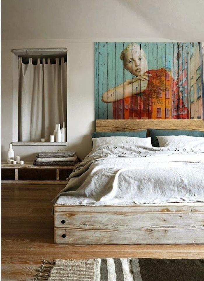 une chambre à coucher de style rustique qui privilégie les matériaux naturels, lit et tableau mural en palettes recyclées, idee avec palette récupéré pour un bricolage authentique et facile
