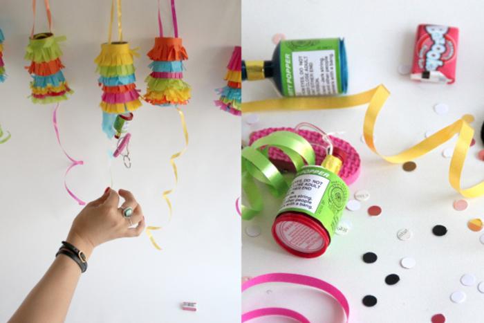 idée originale pour un bricolage de mini-pinata en rouleau papier toilette à remplir avec des bonbons et petits jouets