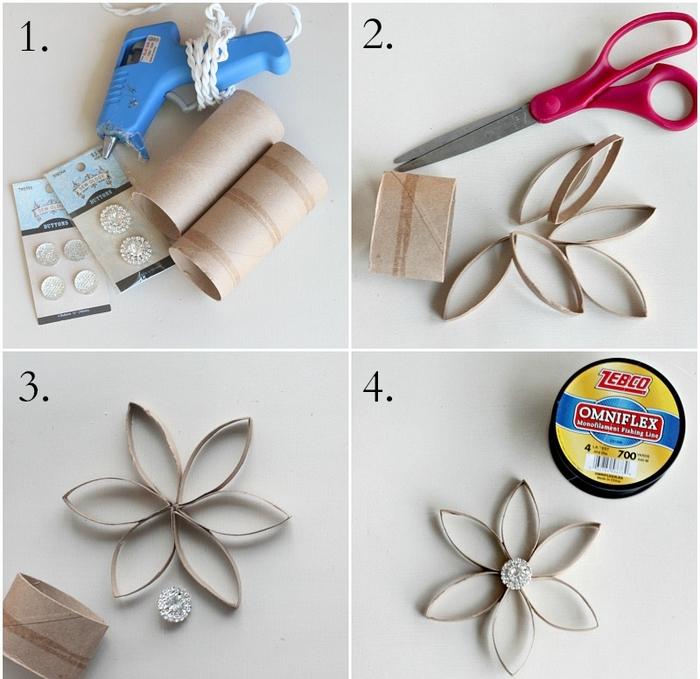 tuto bricolage en papier pour réaliser une décoration de noël fleur en suspension