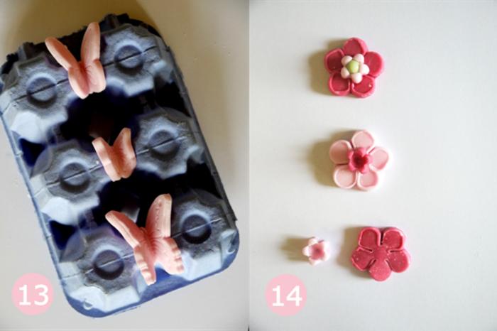 comment réaliser une décoration de gâteau design en pâte à sucre, joli gateau anniversaire 1 an fille en forme de champignon magique
