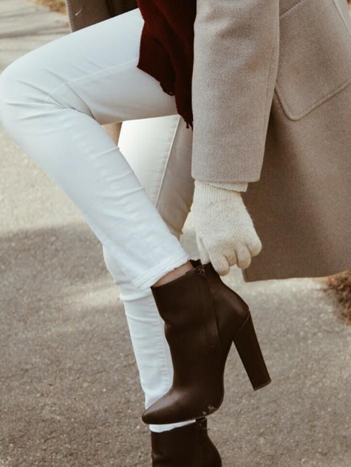 Tenue jupe hiver comment porter bottines tenue femme classe automne pantalon blanc