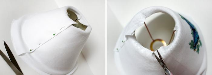 tutoriel, idée comment décorer une lampe de chevet, tissu blanc à motifs papillon bleu et vert