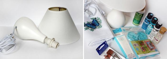 idée bricolage, instructions pour fabriquer une lampe de chevet, peintures acryliques avec pinceaux de différentes tailles