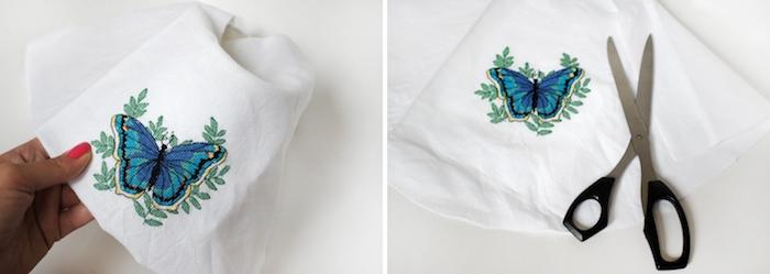 activité manuelle, étapes à suivre pour faire une lampe, décoration avec broderie à design papillon
