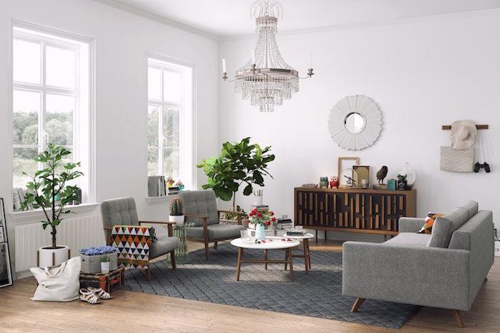 déco salon style scandinave blanc gris canapé suédois