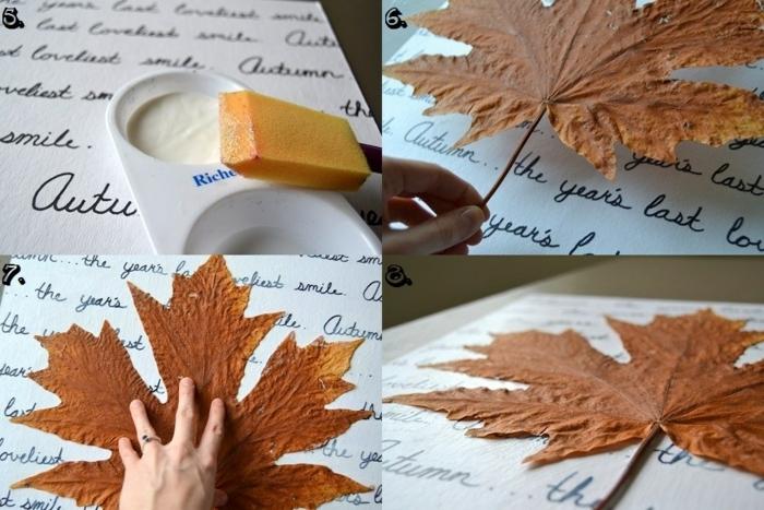 bricolage automne avec feuille morte sur le fond d un texte écrit en lettres noires, activité créative thématique