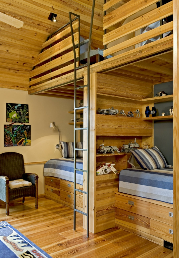 lit ado chambre deco en bois PVC ambiance chaleureuse avec deux lits garcons etageres jouets et livres