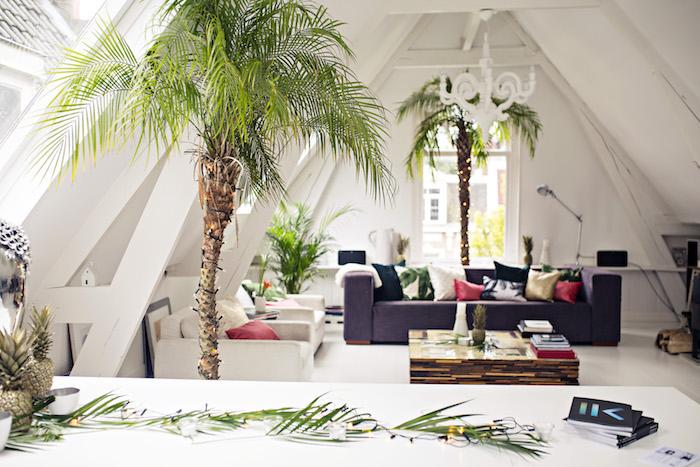 modele deco cocooning, canapé gris, fauteuils blancs, table basse en bois avec plateau en verre, palmiers decoratifs