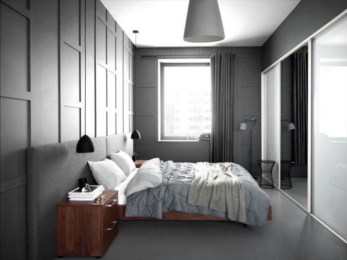 couleur complémentaire du gris dans chambre anthracite