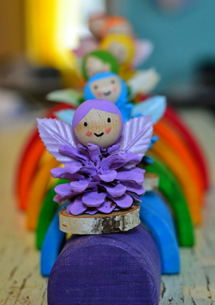 deco noel a fabriquer, anges sympathiques en couleurs différentes
