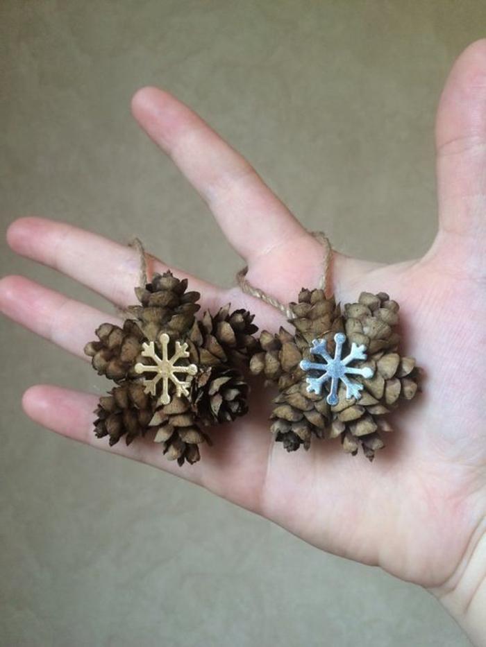 deco noel a fabriquer, flocons de neige originaux avec des cones de pin