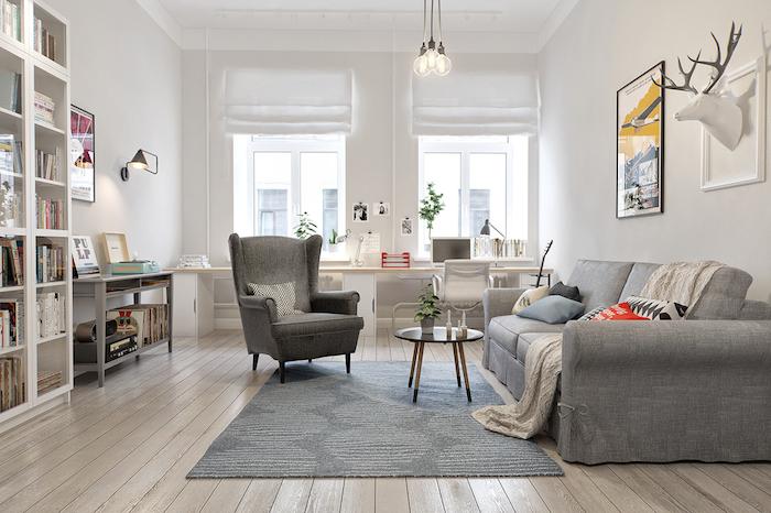deco cocooning avec canapé, fauteuil et tapis gris, parquet en bois clair, mur couleur blanche, bibliothèque, trophée de chasse