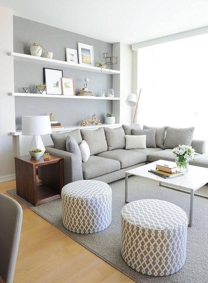 peinture salon blanc et gris taupe clair mur de salon
