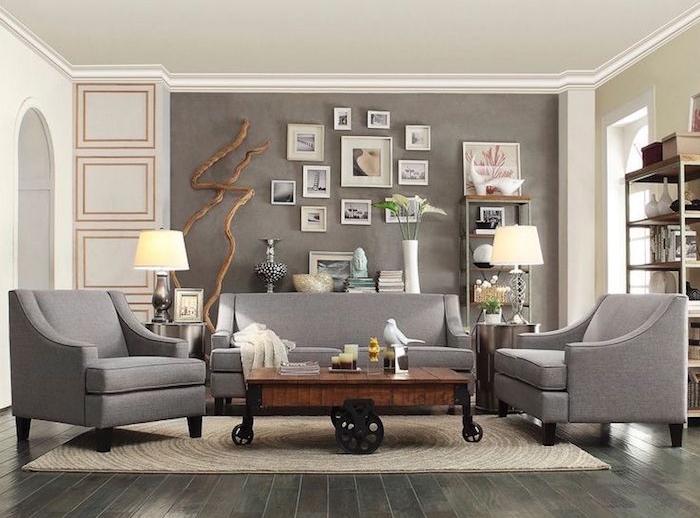 peinture couleur gris taupe pour salon murs et beige blanc