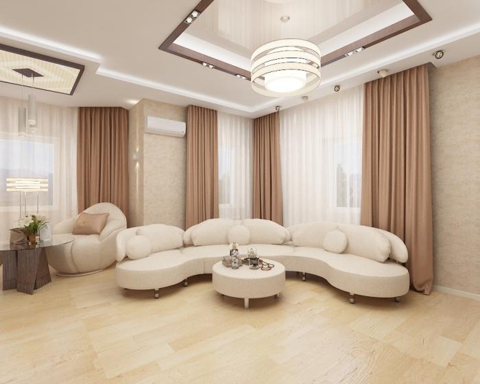idée deco salon moderne en blanc et beige, canapé, fauteuil, table basse minimaliste, camaïeux de beiges et blancs, rideaux marrons, plafond blanc