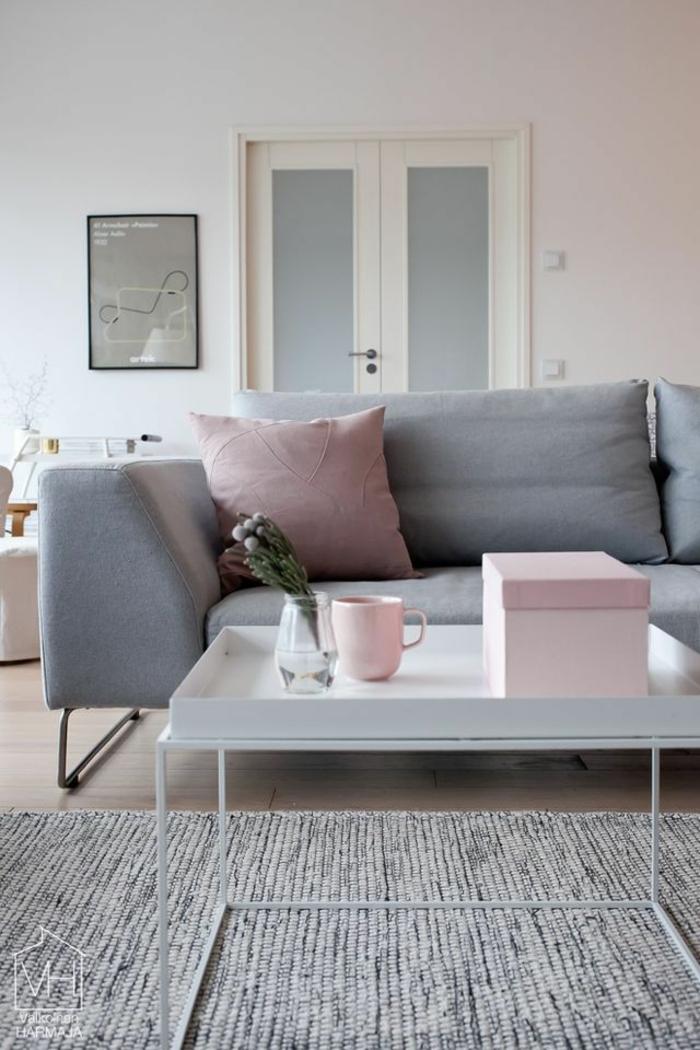 deco salon moderne, salle de séjour e, gris pâle, coussins rose, table basse rectangulaire