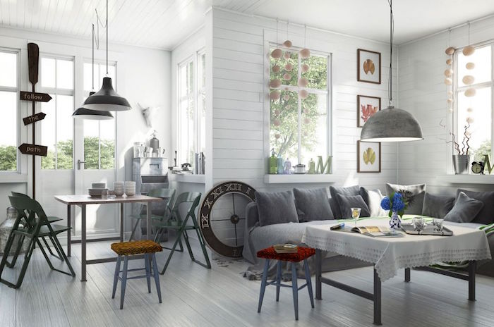 1001 id es salon nordique minimalisme et chaleur venus du froid - Deco murale scandinave ...