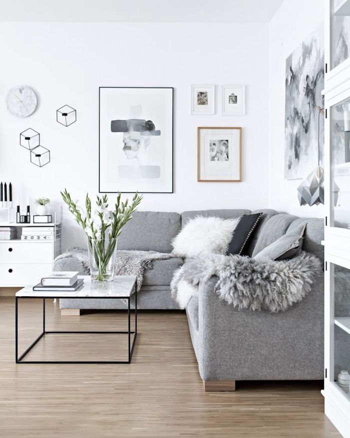 Idées Salon Nordique Minimalisme Et Chaleur Venus Du Froid - Canapé convertible scandinave pour noël decoration meuble salon