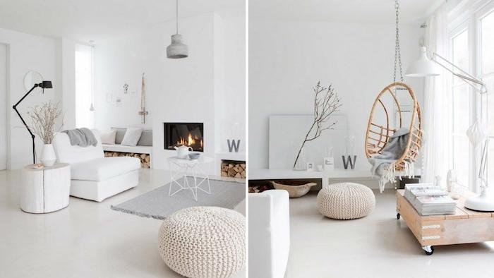 idee deco cocooning scandinave, murs et sol blancs, tapis gris, fauteuil blanc, cheminée blanche, pouf rond en laine tricotée, balançoire en bois, table basse en bois à roulettes