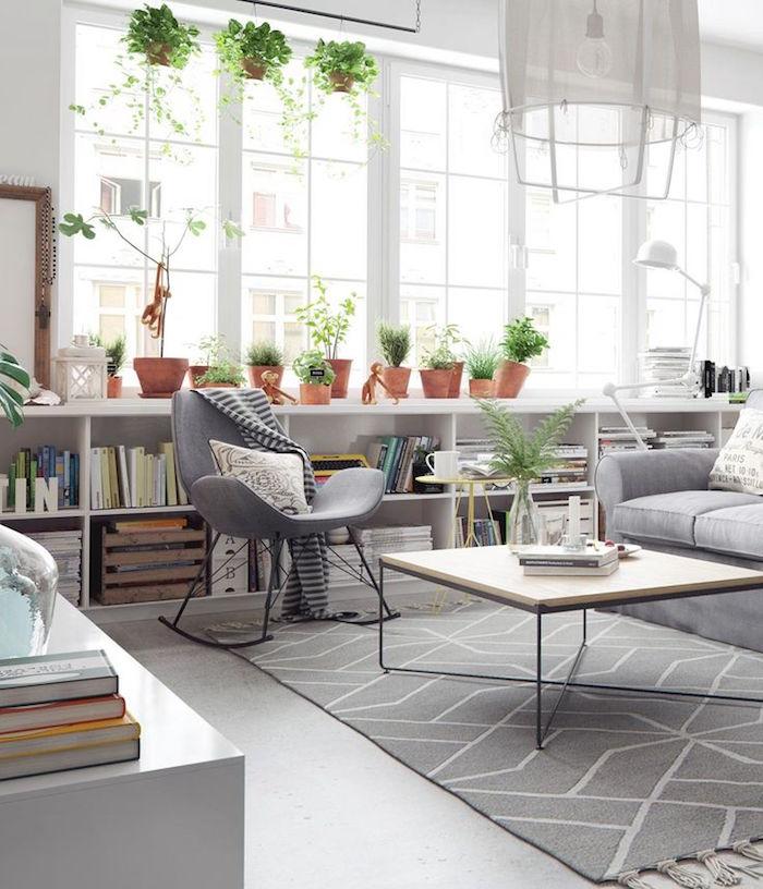 meubles style scandinave et coussin nordique ou design suédois pour salon séjour