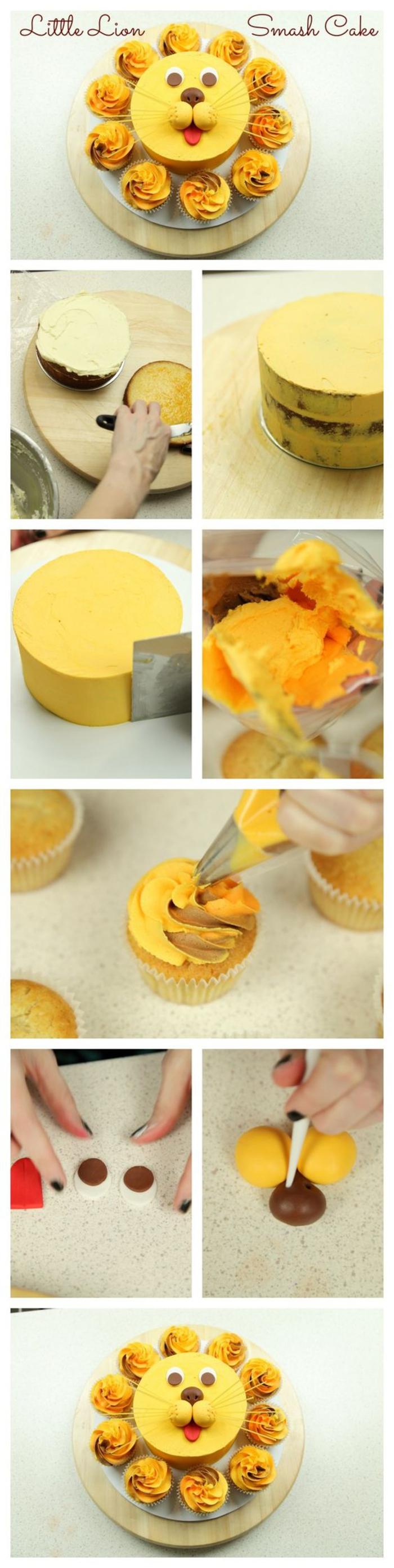 idée originale pour une décoration anniversaire thématique, gâteau en forme de lion réalisé avec des cupcakes